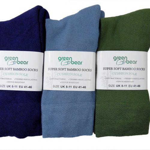 Bamboe Sokken 3 Paar In Blauw – Licht Blauw – Groen
